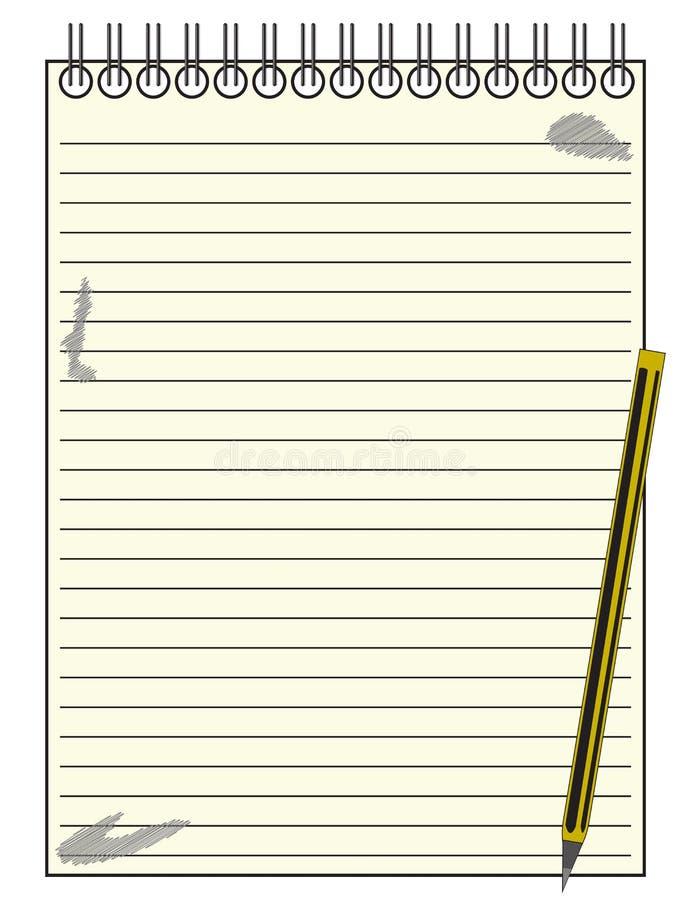 Repórter alinhado Notepad With Pencil ilustração stock