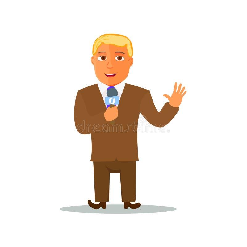 Repórter Character dos desenhos animados com microfone Vetor ilustração royalty free