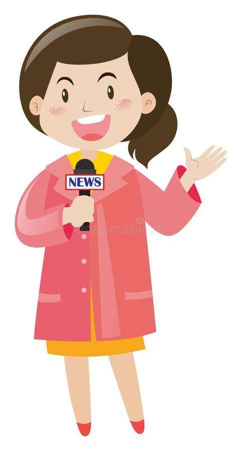 Repórter da notícia com microfone ilustração stock