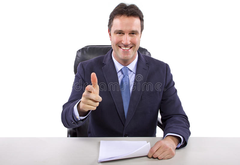 Repórter da notícia no fundo branco fotografia de stock royalty free