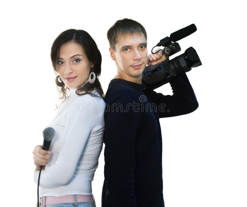Repórter e teleoperator da tevê imagens de stock royalty free