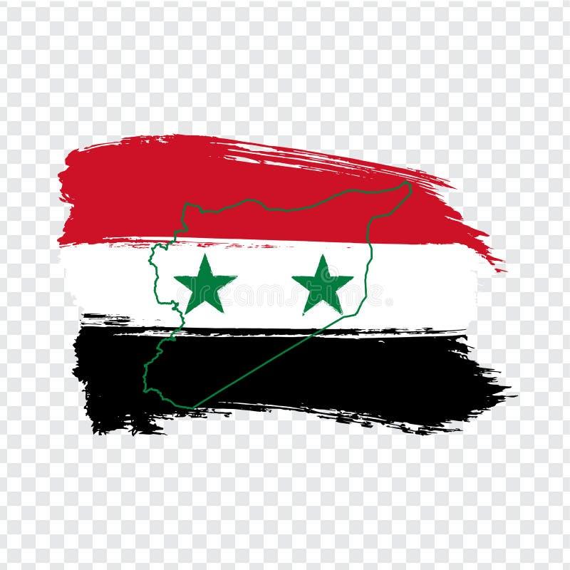 República árabe síria da bandeira dos cursos da escova e do mapa vazio Síria Mapa de alta qualidade Síria e bandeira no fundo tra ilustração stock