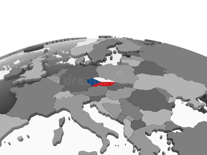 República checa com a bandeira no globo ilustração do vetor