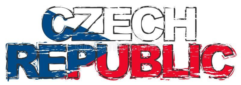 REPÚBLICA CHECA con la bandera nacional debajo de ella, mirada apenada del texto del grunge ilustración del vector