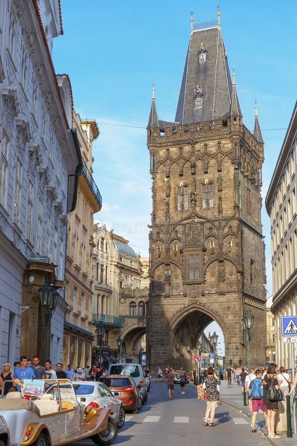 República Checa de Praga 2 de agosto 2017: Torre del polvo foto de archivo libre de regalías