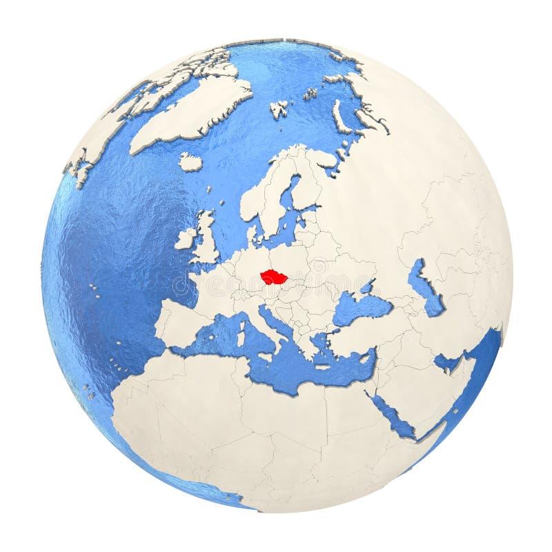 República checa no vermelho no globo completo isolado no branco ilustração royalty free