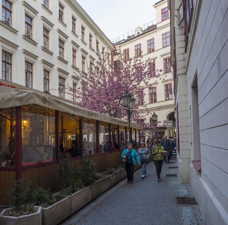 República Checa, Praga, el 8 de abril de 2019: Grupo turístico que camina en paso entre la calle de Jungmanova y de Vodinckova en fotografía de archivo libre de regalías