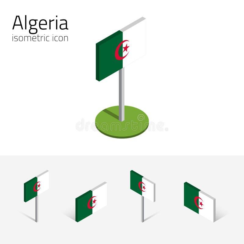 República da bandeira de Argélia, grupo do vetor dos ícones 3D isométricos ilustração royalty free