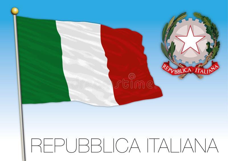 República de Italia, bandera en el cielo azul con el escudo de armas ilustración del vector