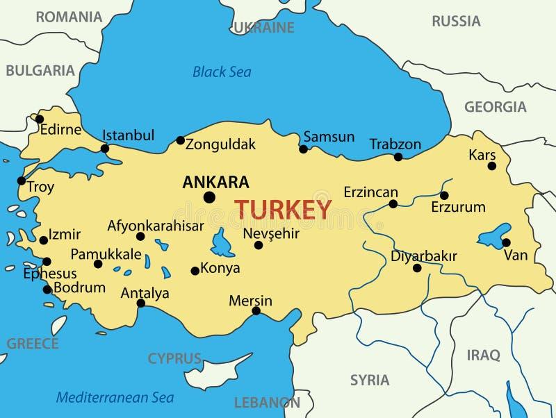 República de Turquía - mapa del vector ilustración del vector