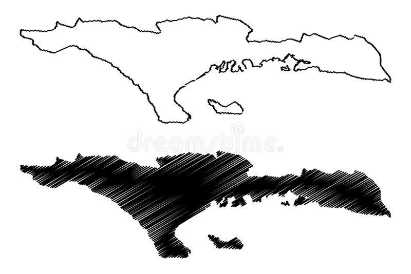 República del departamento del Sud de Haití, Hayti, La Española, departamentos de ejemplo del vector del mapa de Haití, mapa del  ilustración del vector