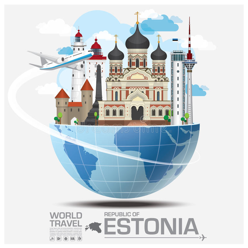 República del viaje y del viaje globales Infograph de la señal de Estonia stock de ilustración
