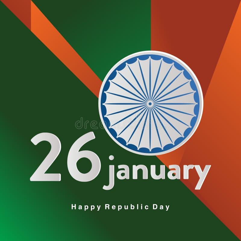 A república dia celebração indiana feliz do 26 de janeiro honra a data em que a constituição da Índia formou o cartaz ou a bandei ilustração royalty free