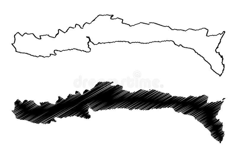 República do departamento Sul-Est de Haiti, Hayti, Hispaniola, departamentos da ilustração do vetor do mapa de Haiti, esboço Sul- ilustração stock