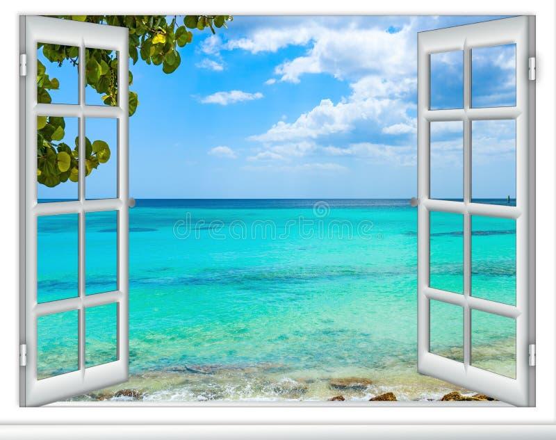 República Dominicana das Caraíbas da janela da vista para o mar imagem de stock