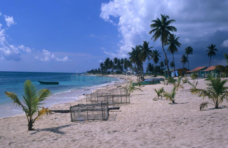 República Dominicana do console de Saona da praia da vila fotos de stock royalty free