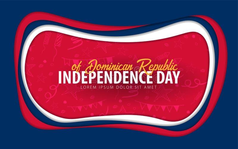 República Dominicana Tarjeta de felicitación del Día de la Independencia estilo del corte del papel libre illustration