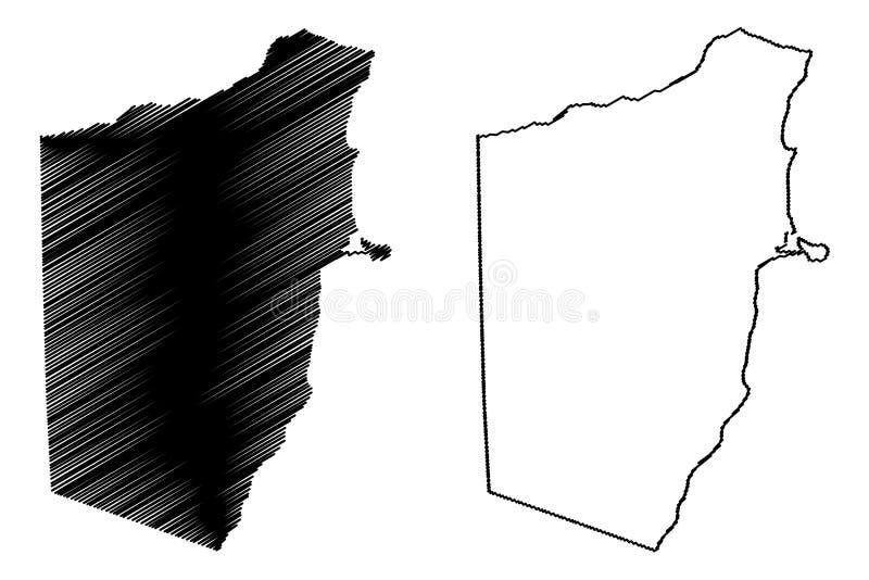 República federal da região de Bari de Somália, chifre da ilustração do vetor do mapa de África, mapa de Bari do esboço do garran ilustração do vetor