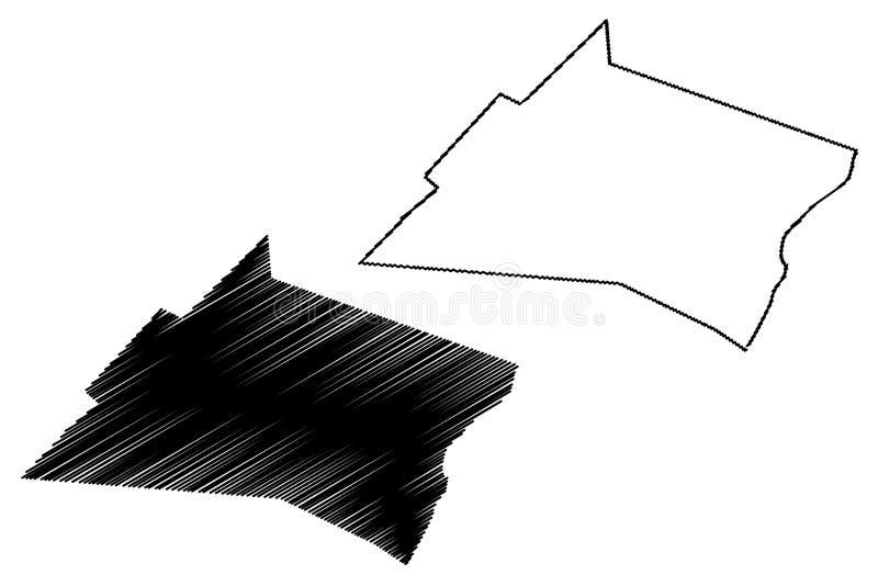República federal da região de Nugal de Somália, chifre da ilustração do vetor do mapa de África, mapa de Nugal do esboço do garr ilustração do vetor