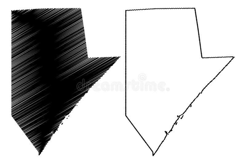 A república federal de uma mais baixa região de Juba de Somália, chifre da ilustração do vetor do mapa de África, rabisca mapa de ilustração do vetor