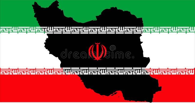 República islámica de Irán con la bandera y el mapa imágenes de archivo libres de regalías