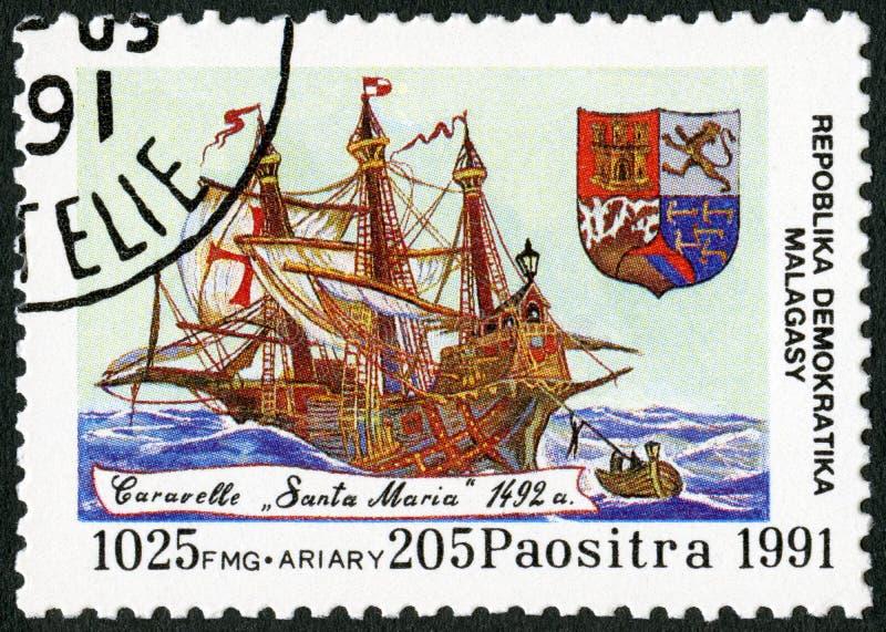 REPÚBLICA MALGAXE - 1991: devotado ao 500th aniversário da descoberta de América, carvel Santa Maria das mostras, 1492 imagem de stock royalty free