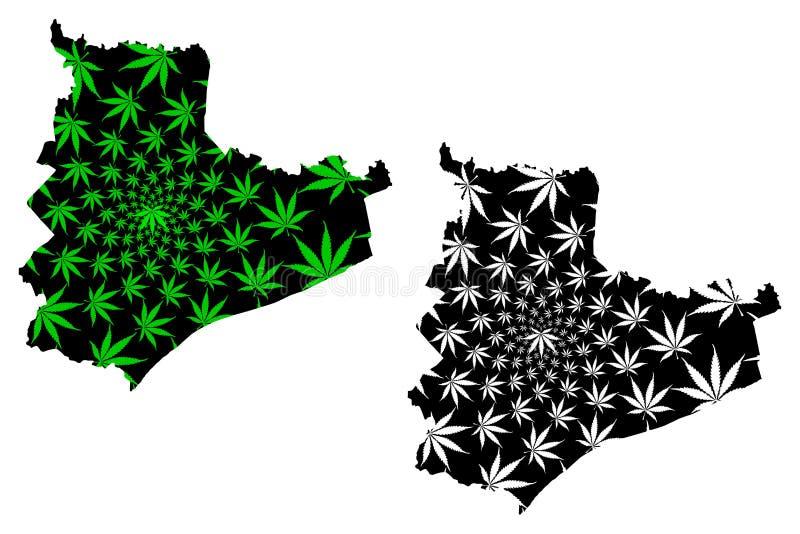 República Socialista de Vietnam, Provincia de Bac Lieu, Subdivisiones de Vietnam, está diseñado hoja de cannabis verde y negro, T ilustración del vector
