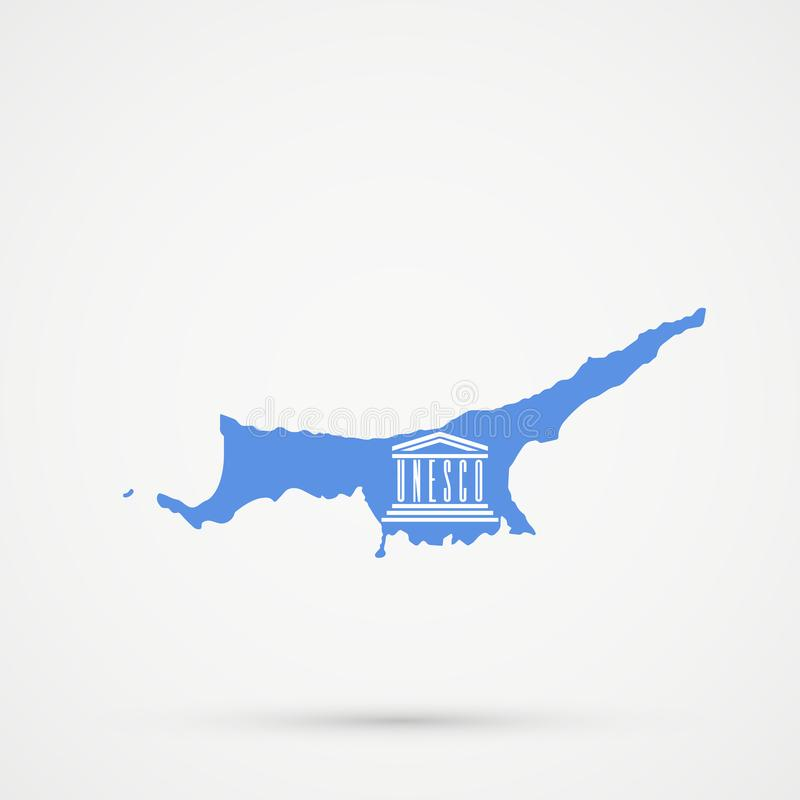 República turca del mapa septentrional de Chipre TRNC en bandera de la UNESCO de la organización educativa, científica y cultural ilustración del vector