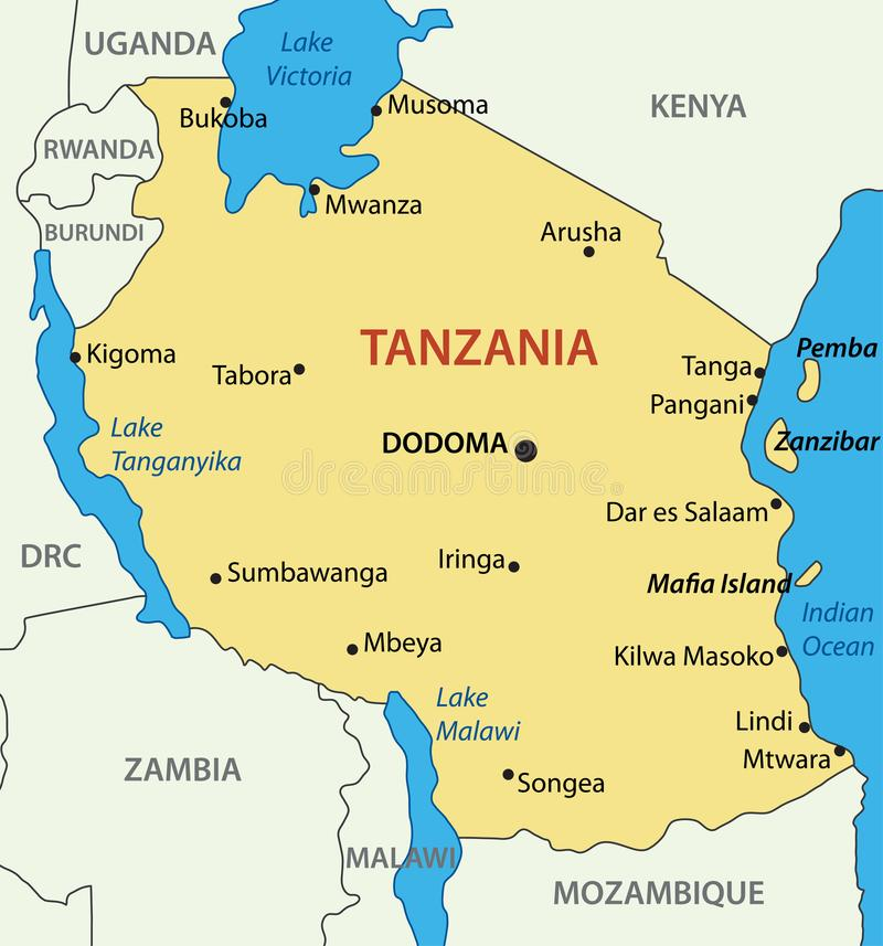 República Unida da Tanzânia - mapa do vetor ilustração do vetor