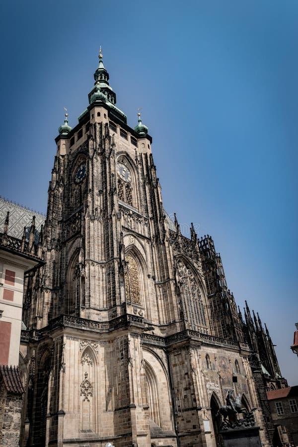 Rep?blica checa praga St Vitus Cathedral Estilo gótico, século XIV Golden Gate decorado com os mosaicos Venetian por Niccoletto imagens de stock royalty free