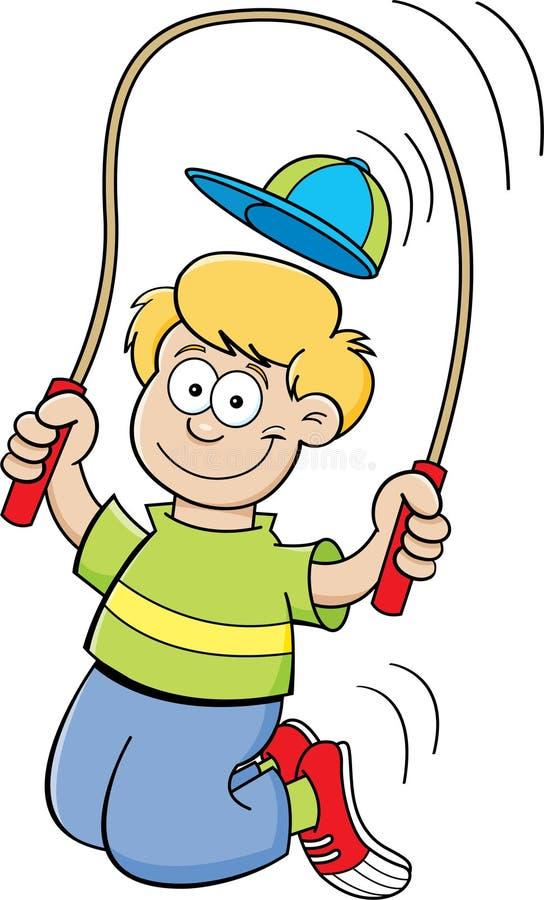 Rep för tecknad filmpojkebanhoppning royaltyfri illustrationer