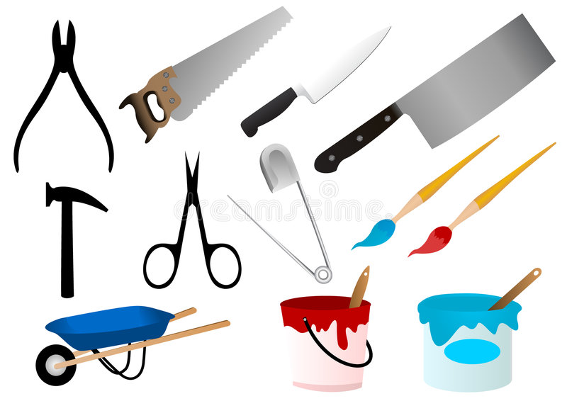 Download Repair stock vector. Image of tool, paintbrush, hammer - 5525383