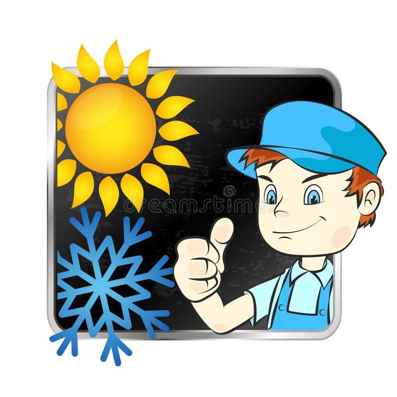 Repair of air conditioner. Repair air conditioner symbol vector stock illustration