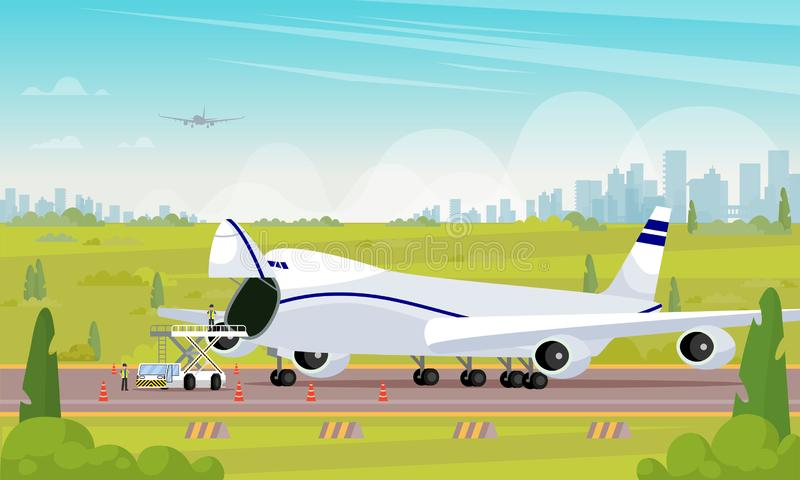 Repair Aircraft in Parking Lot Flat Illustration. stock illustration