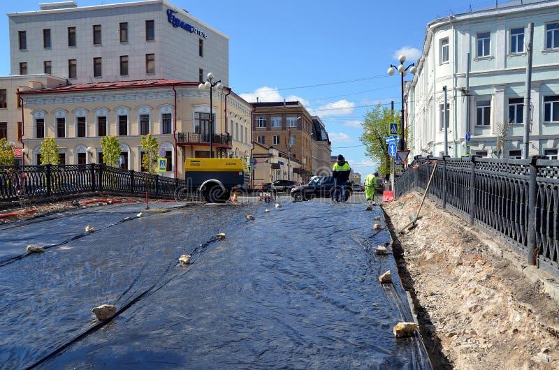 Repair of the bridge. KAZAN, TATARSTAN, RUSSIA - MAY 15, 2017 - Repair of the bridge over the Bulak canal in Kazan, Russia stock photo