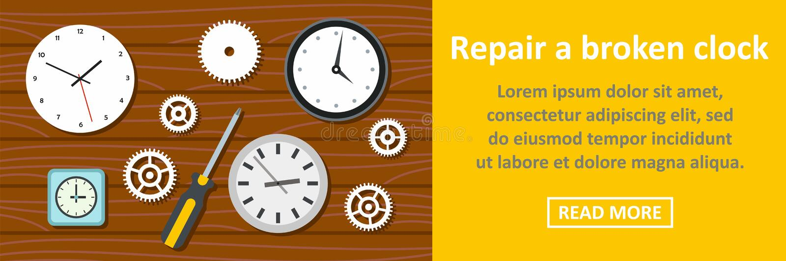 Repair a broken clock banner horizontal concept stock illustration