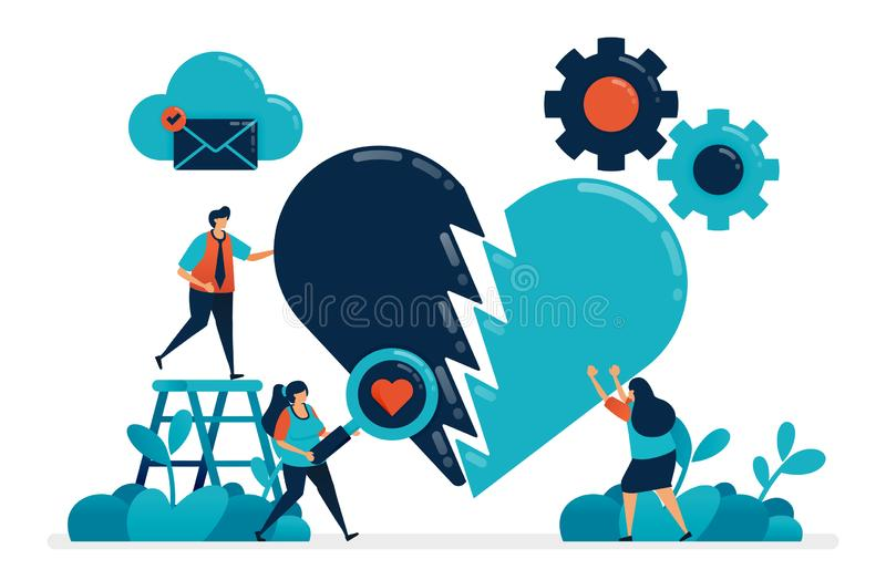 Repair broken hearts with love and romance. Fix relationships marriage with sex. Symbol of broken or injured heart. Damage vector illustration