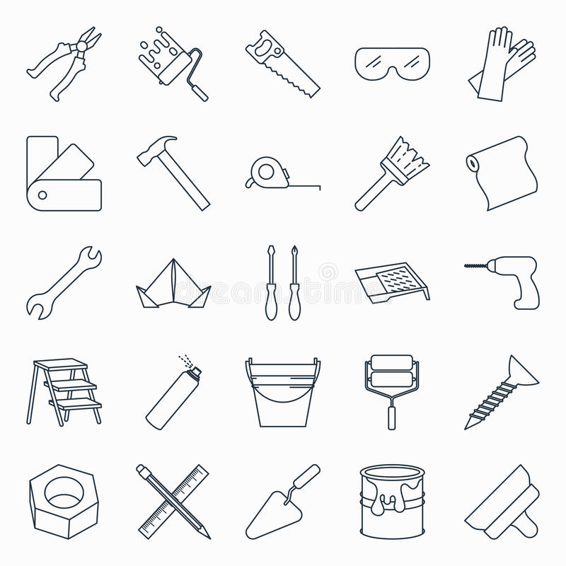 Repair and building tools icons. Collection of outline repair and building tools icons royalty free illustration