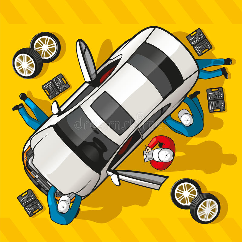 Repair Car Station royalty free illustration