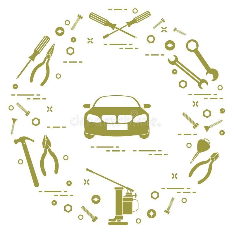 Repair cars: automobile, wrenches, screws, key, pliers, jack, ha stock illustration