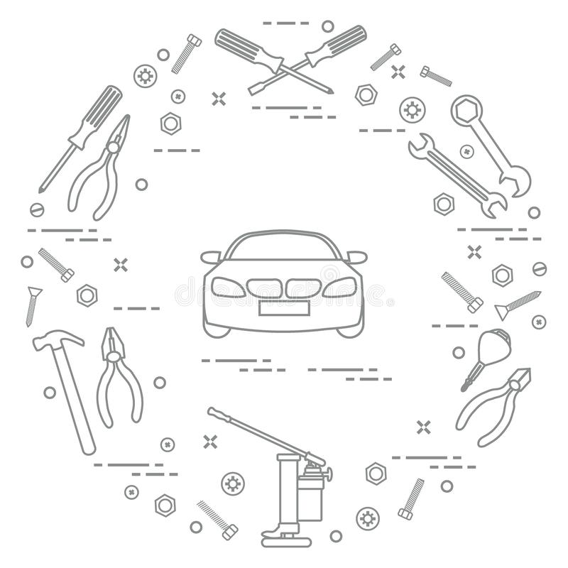 Repair cars: automobile, wrenches, screws, key, pliers, jack, hammer, screwdriver royalty free illustration