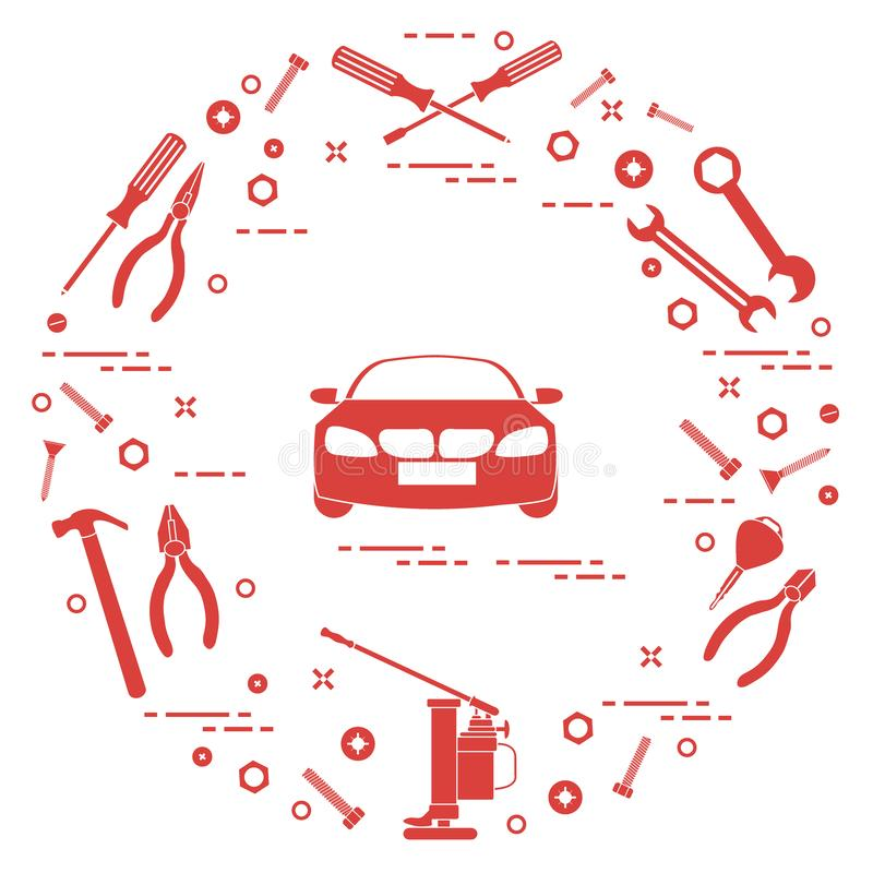 Repair cars: automobile, wrenches, screws, key, pliers, jack, hammer, screwdriver stock illustration
