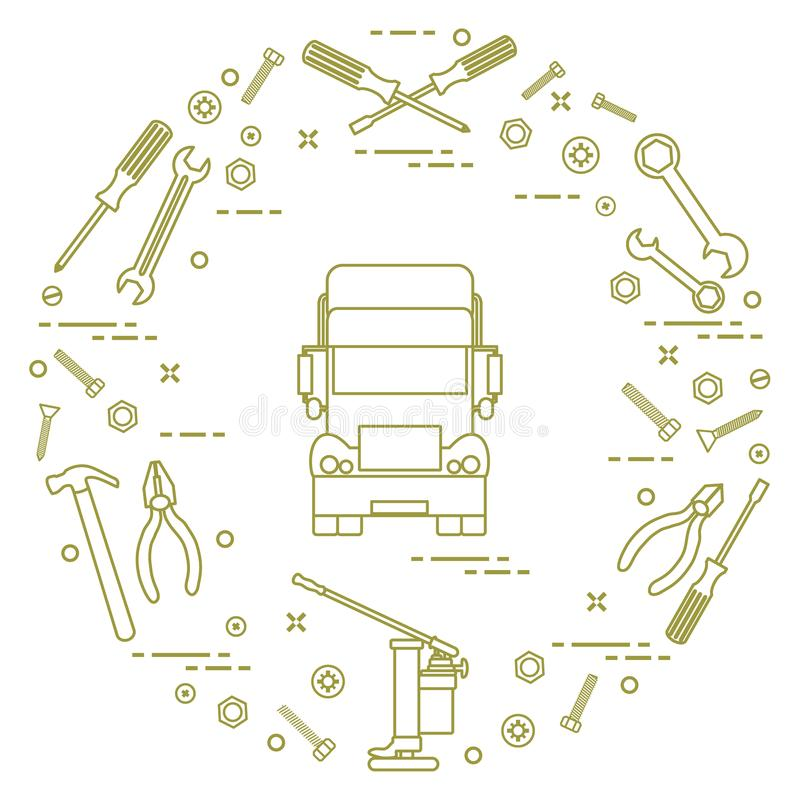 Repair cars: truck, wrenches, screws, key, pliers, jack, hammer, screwdriver. Design for announcement, advertisement, banner or print royalty free illustration