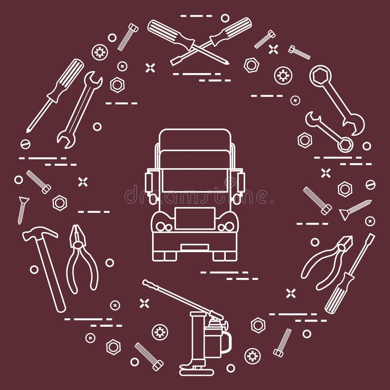 Repair cars: truck, wrenches, screws, key, pliers, jack, hammer vector illustration