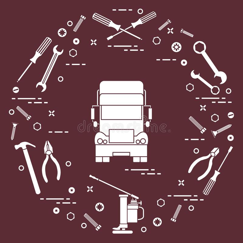 Repair cars: truck, wrenches, screws, key, pliers, jack, hammer, screwdriver royalty free illustration