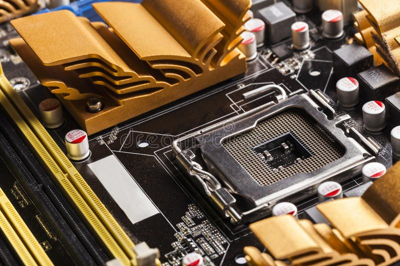 Repair. Closeup network resistor mainboard dimm white royalty free stock photos