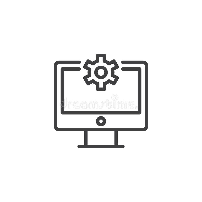 Repair Computer outline icon. Linear style sign for mobile concept and web design. Gear on display simple line vector icon. Symbol, logo illustration. Pixel royalty free illustration