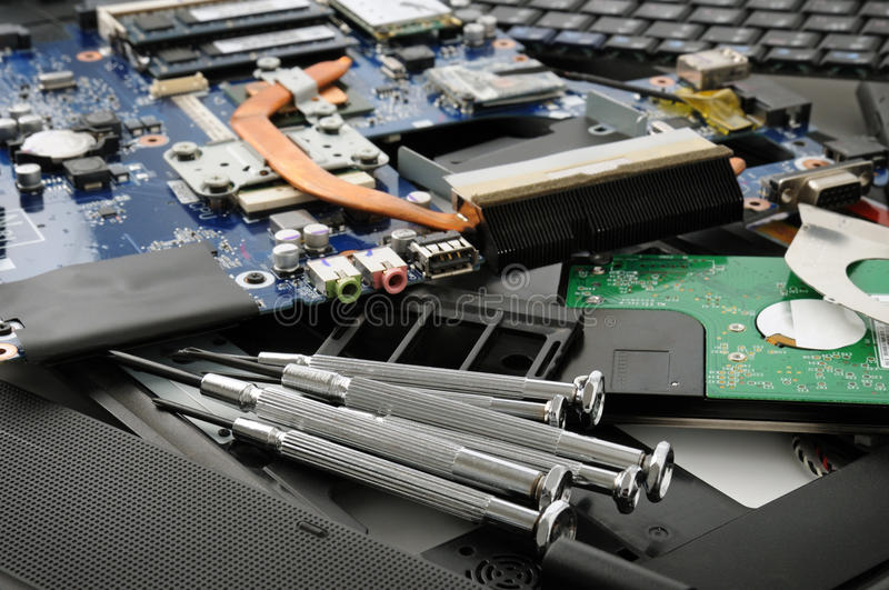 Repair of a computer. And tools stock images