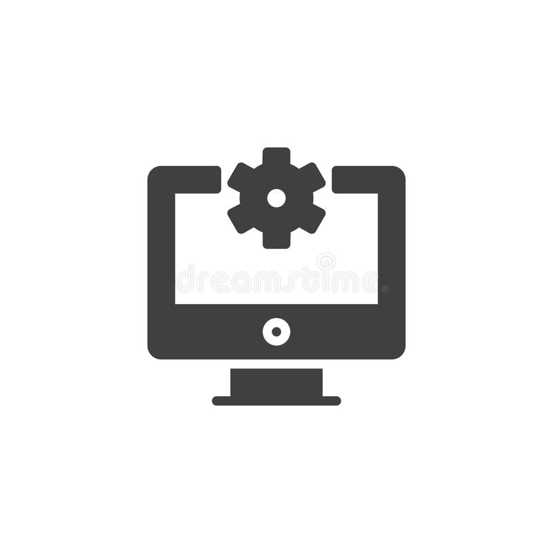 Repair Computer vector icon. Filled flat sign for mobile concept and web design. Gear on display simple solid icon. Symbol, logo illustration. Pixel perfect vector illustration