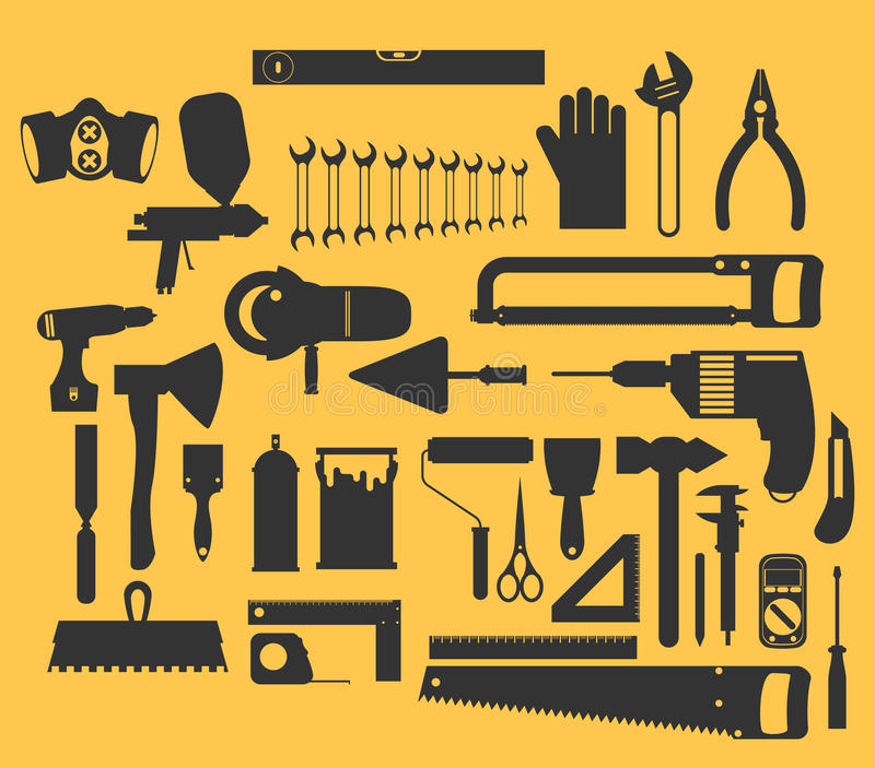 Repair and construction illustration with working tools icons. royalty free illustration